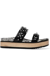 Alexander Mcqueen Studded Leather Platform Slides Black