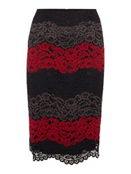 Linea Lace Illusion Pencil Skirt Multi Coloured