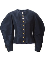 Chanel Pre Owned Cocoon Sleeve Skirt Suit Blue