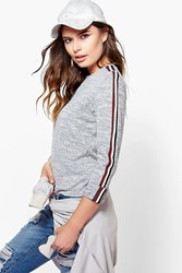 Boohoo Sports Trim Jumper Grey