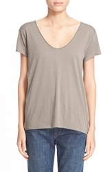 Women's Helmut Lang Scoop Neck Cotton And Cashmere Jersey Tee Mud