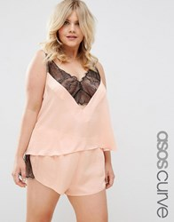 Asos Curve Delicate Lace Insert Cami And Short Set Blush Pink