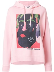 House Of Holland Illustrated Print Hoodie Cotton Pink Purple