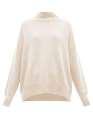 Allude Oversized High Neck Cashmere Sweater Light Pink