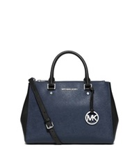 Michael Kors Sutton Medium Two Tone Leather Satchel Navy Black