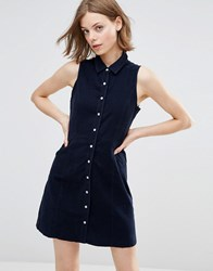 Qed London Sleeveless Corduroy Shirt Dress Navy