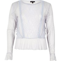 River Island Womens Light Blue Mesh Lace Top