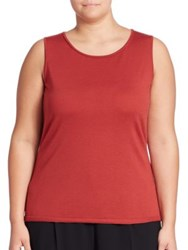 Lafayette 148 New York Wool Scoopneck Sleeveless Top Carnelian