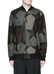 Ports 1961 X Everlast 'Star Camo' Print Mesh Overlay Bomber Jacket Green Multi Colour