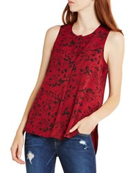 Bcbgeneration Floral Print Sleeveless Top Red