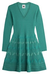 M Missoni Knit Dress With Virgin Wool Green