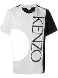 Kenzo Logo Colour Block T Shirt Grey