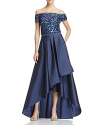 Adrianna Papell Two Piece Off The Shoulder High Low Gown Navy