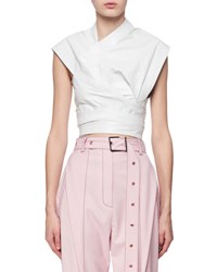 Proenza Schouler Cap Sleeve Leather Wrap Top White