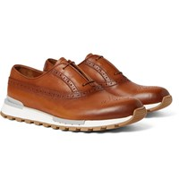 Berluti Fast Track Polished Leather Oxford Brogues Tan