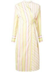 Ports 1961 Striped Wrap Front Dress Yellow