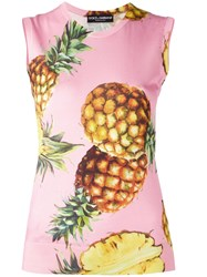 Dolce And Gabbana Pineapple Pattern Tank Top Pink Purple