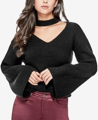 Guess Adele Bell Sleeve Cutout Sweater Jet Black