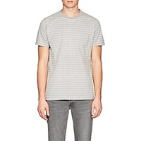 Barneys New York Striped Cotton Jersey T Shirt Gray