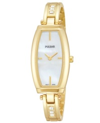 Pulsar Women's Crystal Accent Gold Tone Stainless Steel Bangle Bracelet Watch 20Mm Pm2056 Women's Shoes