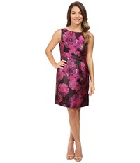 Tahari By Arthur S. Levine Petite Metallic Jacquard Sheath Raspberry Rose Gold Women's Dress Pink