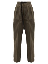 Chimala Clip Buckle Belted High Rise Cotton Trousers Khaki
