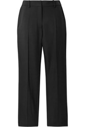 Racil Aries Satin Trimmed Wool Crepe Tapered Pants Black