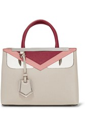 Fendi 2Jours Textured Leather Shopper Taupe
