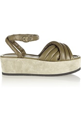 Isabel Marant Rowland Padded Leather And Suede Platform Sandals Green