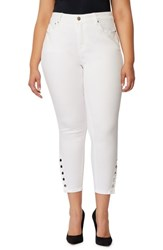 Rebel Wilson X Angels Plus Size Women's The Duchess High Waist Ankle Skinny Jeans White