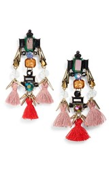 Sole Society Tassel And Crystal Chandelier Earrings Crystal Multi