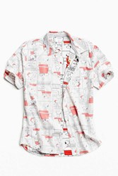 Urban Outfitters Hybrid Snoopy Cell Print Short Sleeve Button Down Shirt White