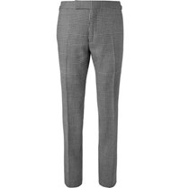 Tom Ford Shelton Slim Fit Checked Wool Mohair And Silk Blend Suit Trousers Black