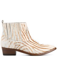 Golden Goose Deluxe Brand Zebra Print Ankle Boots Nude And Neutrals