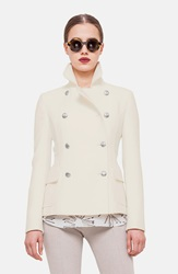 Akris Punto Double Breasted Short Peacoat Cream