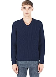 Lanvin Cable Knit V Neck Sweater