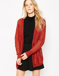 Le Mont St Michel Printed Wool Cardigan Burgundy