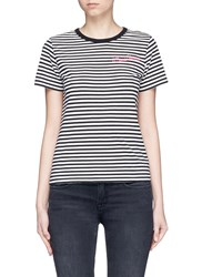 Marc Jacobs Leopard Print Stripe Jersey T Shirt Black