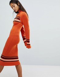 Ellesse Knitted Midi Dress With Roll Neck Orange