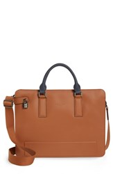 Ted Baker London Stark Leather Briefcase Brown Tan