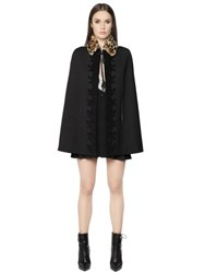 Just Cavalli Wool Gabardine Cape W Fur Collar
