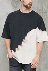 Forever 21 Oversized Dip Dye Tee Black Cream
