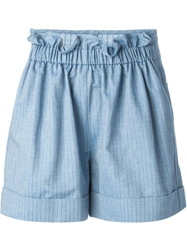 See By Chloe Striped Denim Shorts Blue