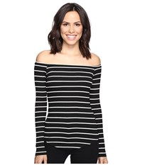 Lna Off The Shoulder Top Cream Black Stripe Women's Long Sleeve Pullover