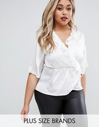 Club L Plus Wrap Top With Ruffles Cream