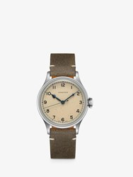 Longines L28194932 'S Heritage Automatic Leather Strap Watch Green Cream