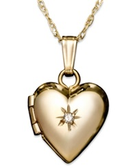 Macy's Children's 14K Gold Pendant Diamond Accent Heart Locket