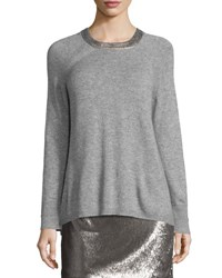 Halston Long Sleeve Split Back Crewneck Sweater Light Gray