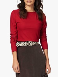 Brora Skinny Rib Boat Neck Top Crimson