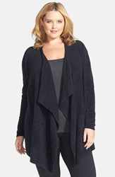 Plus Size Women's Barefoot Dreams Drape Front Cardigan Midnight